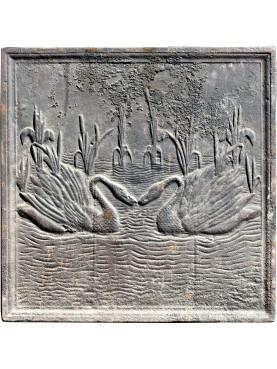 Lastra originale antica, due cigni nella palude