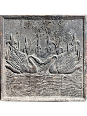Original ancient fireback, two swans in the swamp
