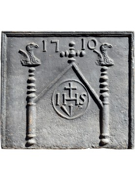 antica originale Lastra in ghisa per camino con IHS datata 1710