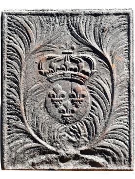 Originale antica lastra da camino con armi di Francia