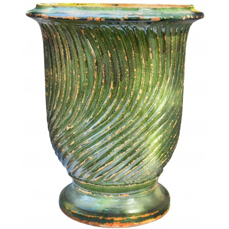 Typical flamed vase from Anduze (F) - Ø68cms - French majolica