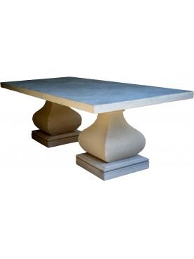 Tavolo rettangolare 220cm x 100cm in pietra con due basi