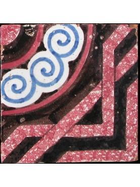 Antica piastrella maiolica con motivo archeologico