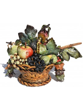 Large Hand-made majolica Caravaggio's fruits basket