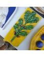 Bassorilievo in terracotta - tralcio di quercia con ghiande