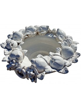 bowl centerpiece with white fruit della robbia style