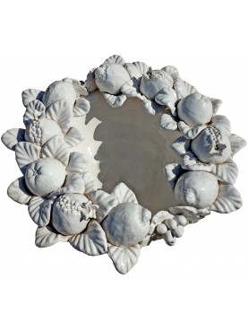 medium size bowl centerpiece with white fruit della robbia style