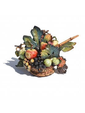 Small Hand-made majolica Caravaggio's fruits basket