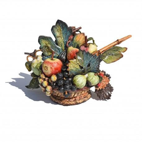Cesto di frutta Caravaggio piccolo in maiolica - fatto a mano