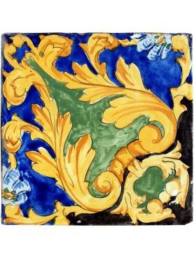 Ancient blue, manganese, ocher and copper majolica tile - Vietri sul Mare