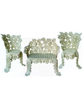 Set of 3 pieces, a bench and two armchairs