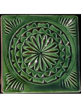 Engraved Moroccan majolica tiles - Green 10x10
