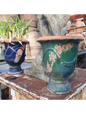 coppia di vasi maiolicati francesi antichi di Anduze