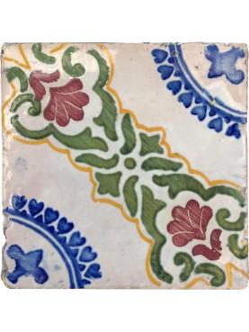 Majolica ancient tile blue and manganese