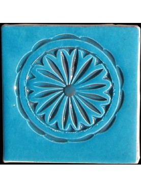 Engraved Moroccan majolic tiles - Light Blue 10x10