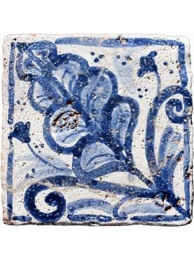 Copy of ancient Sicilian tile painted on ancient original tile