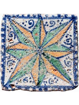Copia di antica piastrella siciliana dipinta su antica piastrella originale