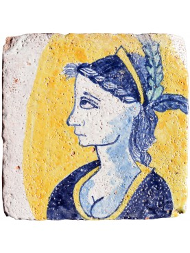 Copy of ancient Sicilian tile painted on ancient original tile