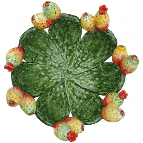 Hand-made prickly pears basket in maiolica