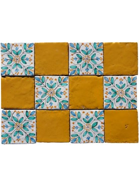 Tiles Panel 10x10 cms Green Decoration+ Yellow