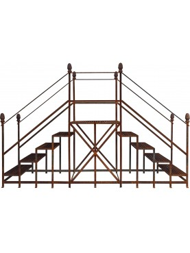 Large double ladder wrought iron pot holder for garden