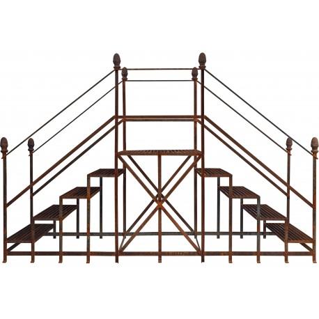 Grande doppia scala portavasi in ferrobattuto a ruggine per giardino