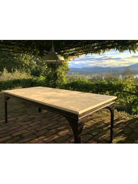 IRON TABLE FROM THE Morgue SERIES WITH WHITE CARRARA MARBLE TOP