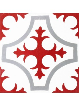 Cementine Idrauliche Decorate Croce Rosso Grigio