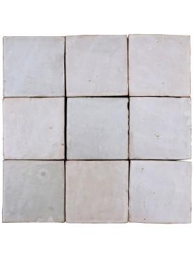 Piastrelle Marocchine fatte a mano 10,5x10,5cm monocolore bianche