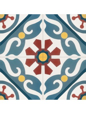 Cement Tiles GREEN CREAM RED Circles and Stars