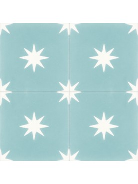 Cementine Idrauliche Disegno Geometrico Fiori Azzurri