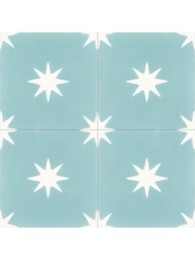Cement tiles Geometric Pattern Light Blue Flowers
