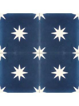Cementine Idrauliche sfondo celeste con stella bianca