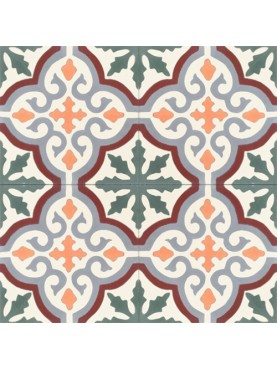 Hydraulic cement tiles white background blue yellow and red ornaments
