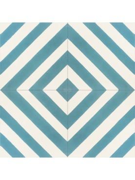 Cement Tiles WHITE BLUE Mixed Squares