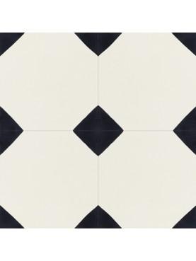 Cement tiles Black Background White Flowers