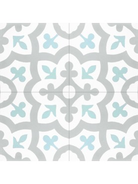 Hydraulic cement tiles white background with gray and pink decorations