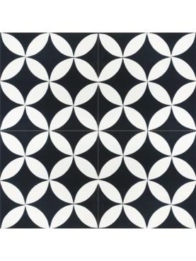 Cementine Idrauliche Decorate Sfondo bianco sporco con angoli neri