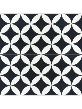 Decorated Hydraulic Cement Tiles Off-white background with black corners