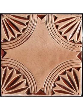 Engraved Moroccan majolica tiles - Beige 10x10