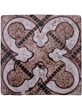 Piastrella originale di maiolica spugnata manganese
