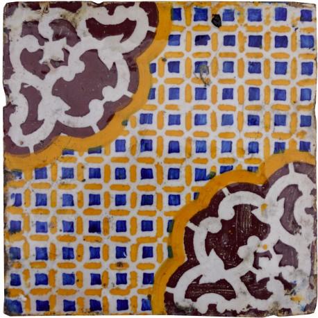 Original ocher, blue, manganese and white aluminum oxide majolica tile