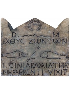 Stele Licinia on white carrara marble and patina with black engravings