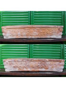 Cassetta bifacciale in terracotta con Fondale Marino e Savana Africana