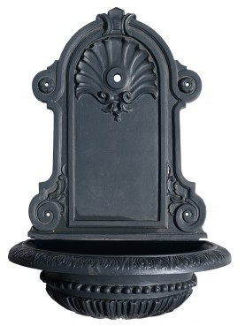 Wall fountain in cast iron with decorated basin