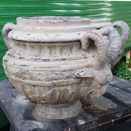 Handmade goat head vase with large horns