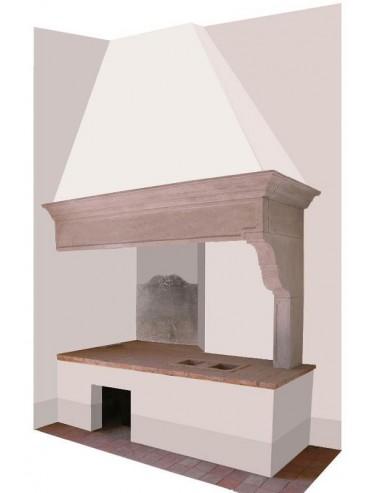 Camino in pietra cappa per cucina di nostra produzione in pietra serena -  Recuperando