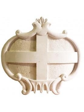 Stemma in pietra calcarea con stemma Repubblica di Genova