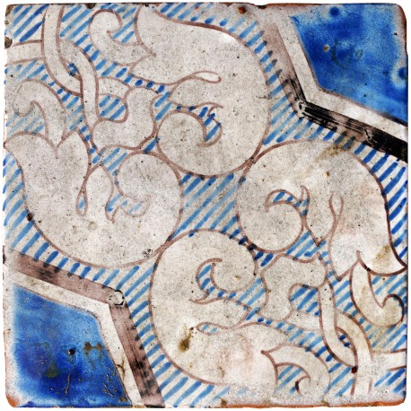 Ancient italian Majolica tile - blue and white