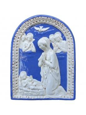 Majolica basrelief - Madonna with Child